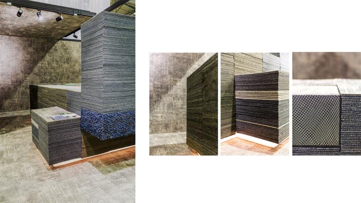 voor interface flooring hebben we een stand ontworpen die de lancering van hun nieuwe tapijt conscient tot uitdrukking brengt